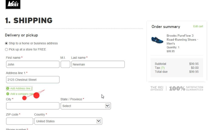 Reducing checkout form fields